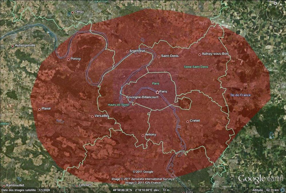Ellipse de 50x60km autour de la ville de Paris correspondant à la zone de dégâts d'un météore de type Toungouska