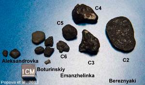 Fragments de la météorite de Tcheliabinsk