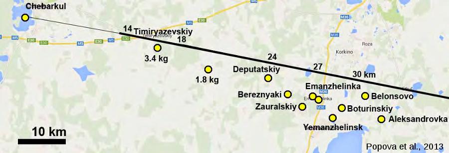 Localisation des fragments utilisés lors des analyses géochimiques réalisées par Popova et al., 2013