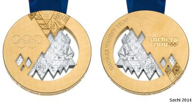 L'une de médaille décernée à Sotchi (Sochi, en anglais) le 15 février 2014 contenant des morceaux de la météorite de Tcheliabinsk
