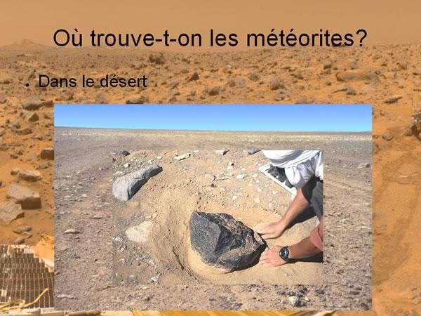 Une météorite trouvée dans le désert