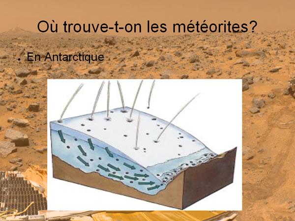 Mécanisme d'accumulation des météorites en Antarctique
