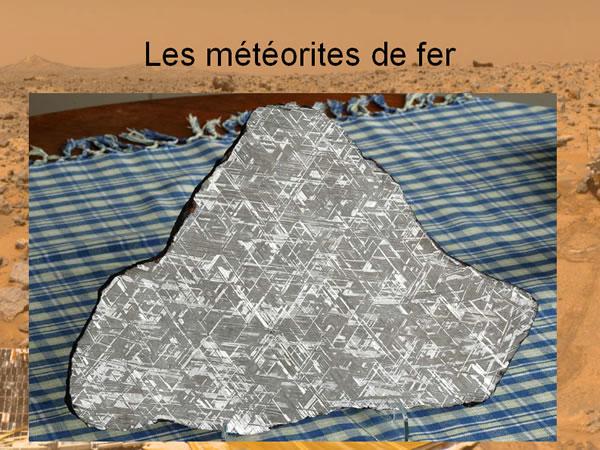 Une météorite de fer dont une section a été polie