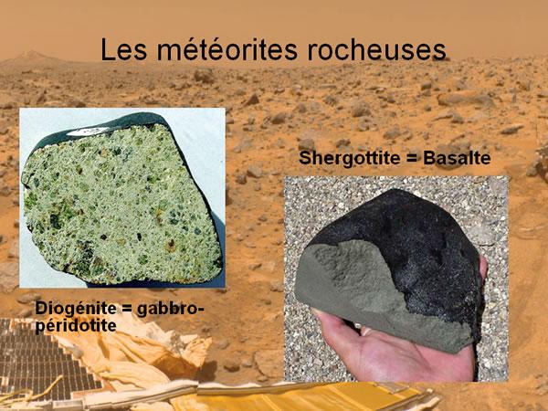 Une diogénite et une shergottite (achondrites pierreuses)