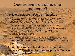 Les différents types de météorites (simplifiés)