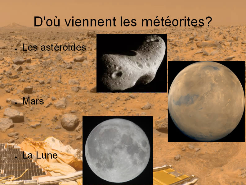 Corps parents à l'origine des météorites