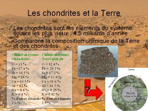 Comparaison de chondrite / Terre