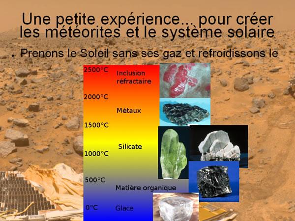 Simulation de refroidissement du système solaire, ordre de condensation des différentes phases