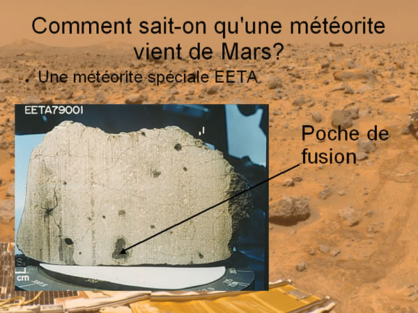 La météorite EETA 79001 et ses poches de fusion