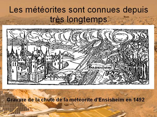 Gravure de la chute de la météorite d'Ensisheim (Alsace)