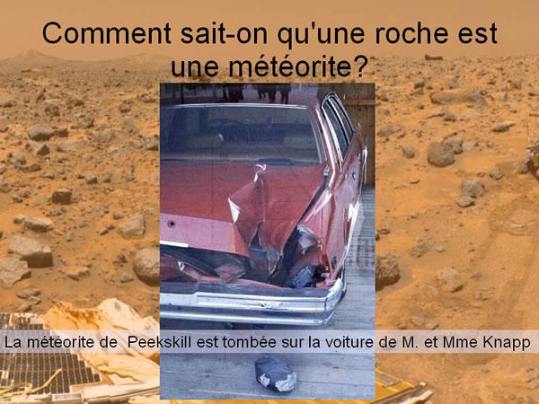 Impact de la météorite de Peekskill (USA) dans une voiture