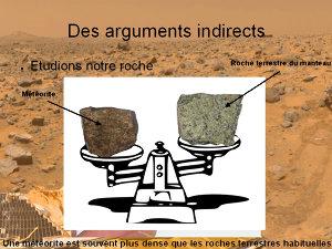 Comparaison entre la densité d'une roche terrestre et celle d'une météorite