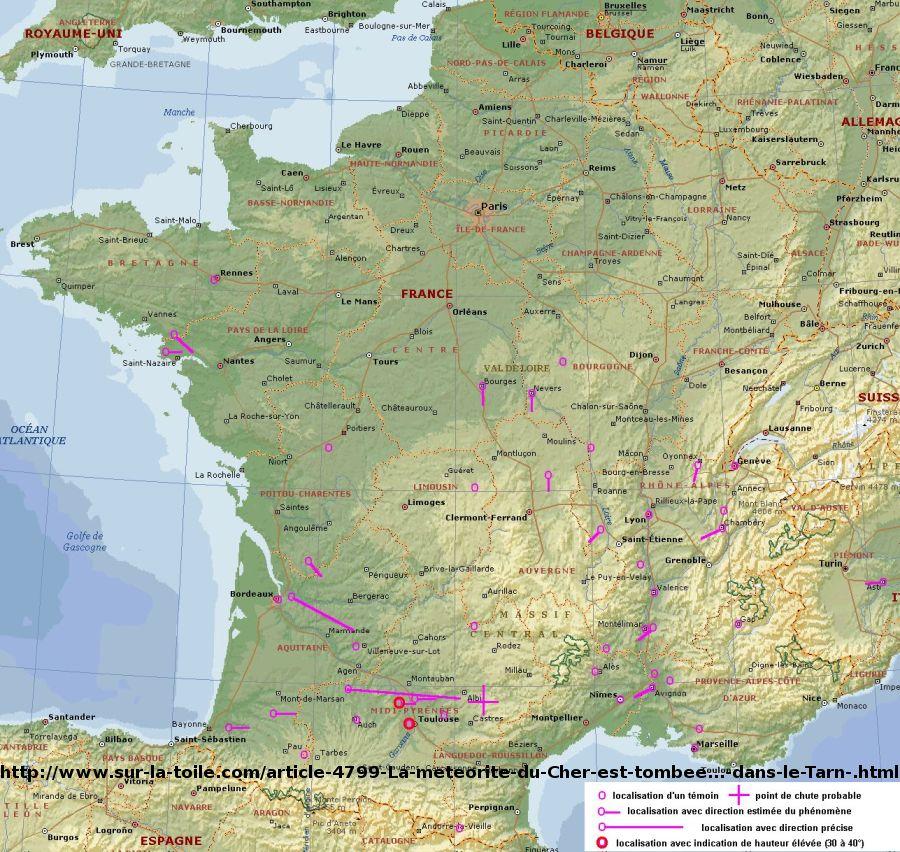 Carte localisant le point de chute éventuel de la météorite, publié sur un forum par un certain Ludwig
