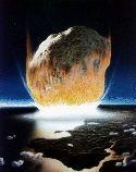 Impact de météorite (représentation artistique)
