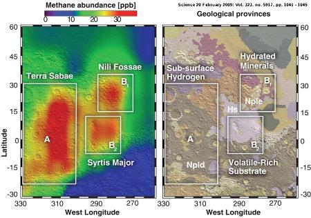 Cartographie des teneurs en méthane des trois régions correspondant aux dégagements de méthane sur Mars