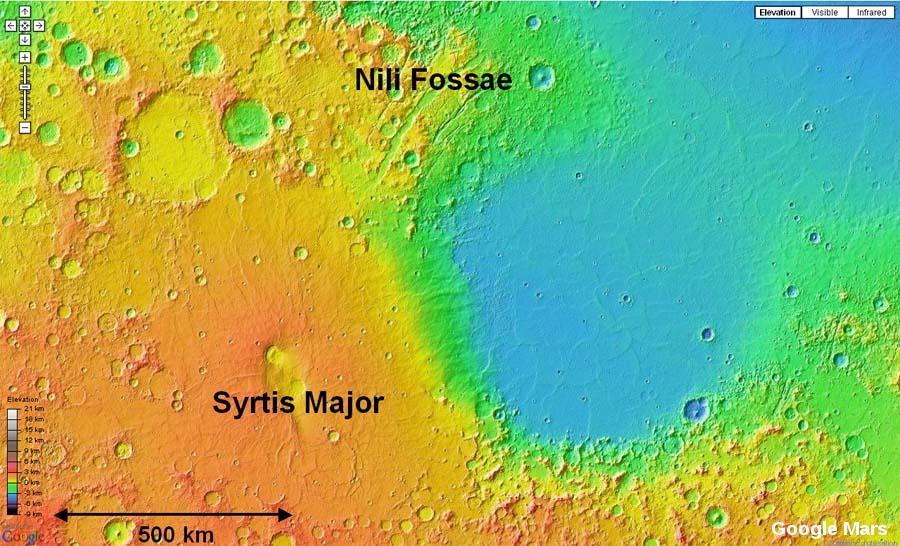 Carte topographique de Mars montrant le volcan Syrtis Major et les fossés de Nili Fossae