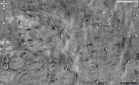 Image Google Mars (500km de large) montrant la région de Syrtis Major