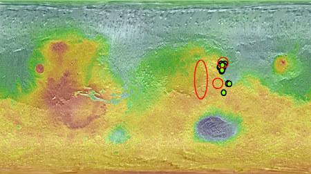 Localisation des zones de dégagement martien de méthane (cercles rouges) et des seuls affleurements de carbonates (de magnésium) identifiés à ce jour (décembre 2008) depuis l'orbite martienne (cercles verts)