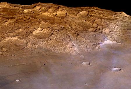 Vue oblique de Claritas Fossae prise en direction de l'Ouest