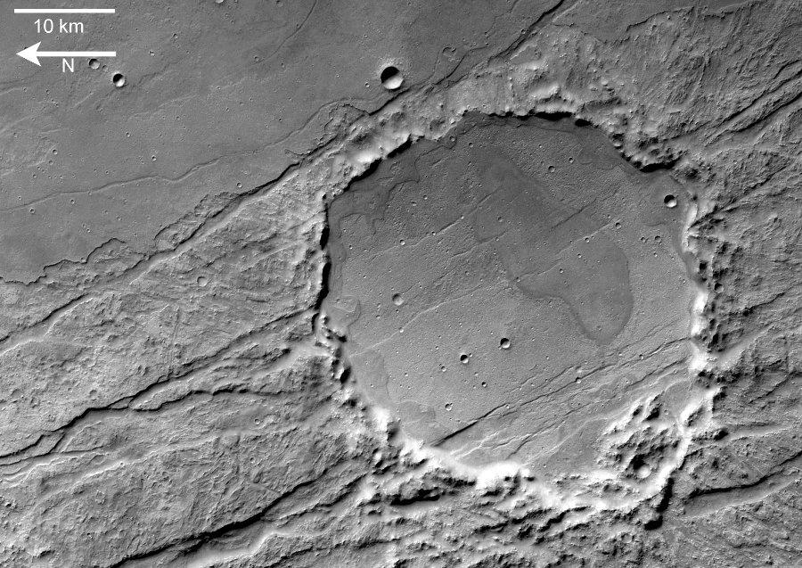 Vue en carte d'un cratère de Claritas Fossae