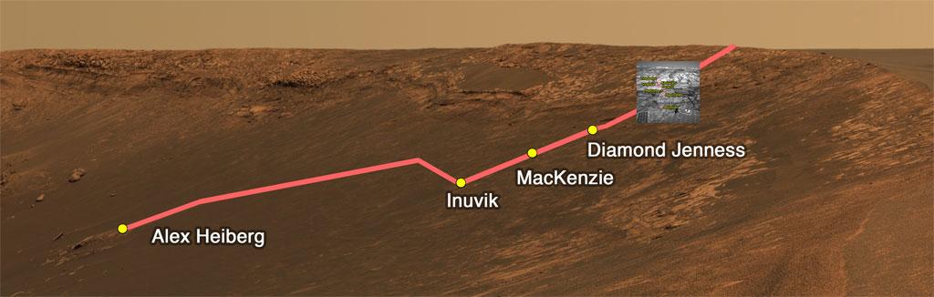 Trajet du rover Oportunity en vue oblique