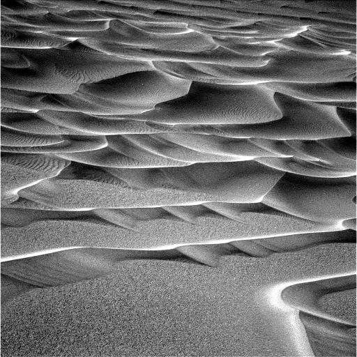 Vue des dunes au fond du cratère Endurance