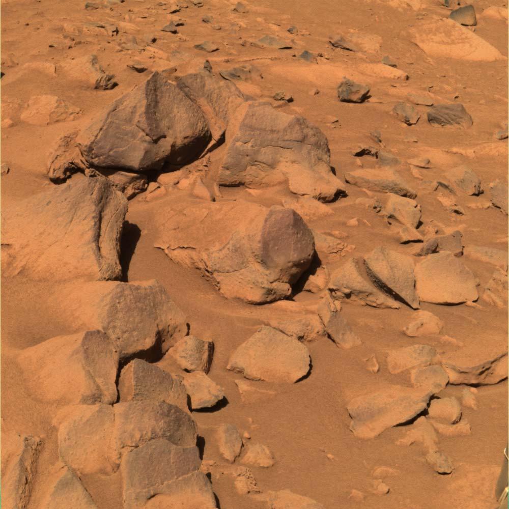 """Vue en """"vraies couleurs"""" des roches voisines de West Spur"""