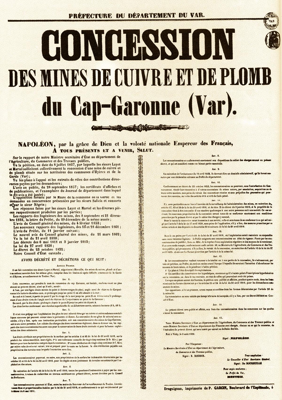 Document de concession des mines de cuivre (et de plomb) du Cap Garonne, établi en 1857 par l'état