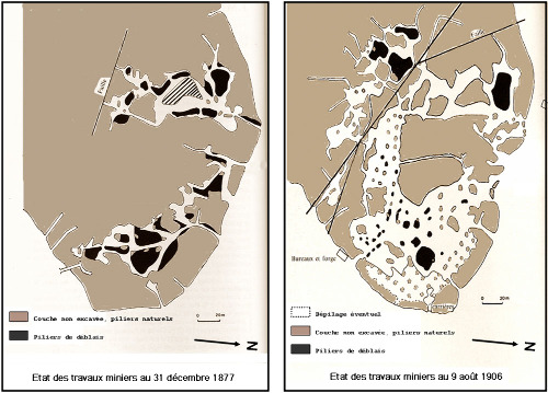 Cartes (légèrement modifiées) de l'état avancement de l'exploitation de la mine du Cap Garonne