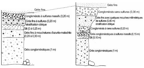 Deux schémas montrant la succession des couches dans deux secteurs de la mine du Cap Garonne