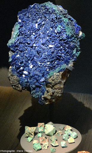 Échantillons d'azurite et de cuprite provenant de Chessy-les-mines, exposés au Musée des Confluences, Lyon
