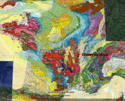 Localisation de Chessy-les-Mines sur la carte géologique de France au 1/1000000