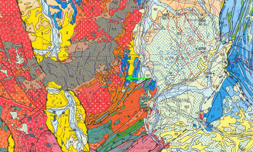 Détail de la carte géologique au 1/1000000 localisant Chessy-les-Mines (flèche verte)