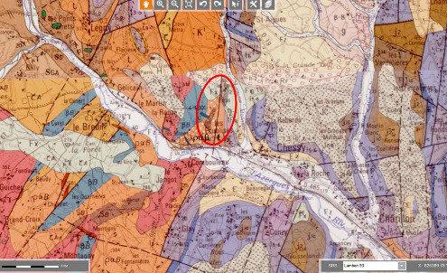 Le secteur minier de Chessy-les-Mines (ovale rouge) sur la carte géologique au 1/50000 d'Amplepuis