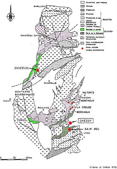 Carte géologique du Nord-Ouest du Massif Central montrant l'ensemble du volcanisme dévono-dinantien (Dinantien = ancien nom de l'ensemble Carbonifère inférieur et moyen) et localisant sept amas sulfurés, tous inclus dans des terrains volcaniques (acides ou basiques) dévoniens ou carbonifères inférieurs