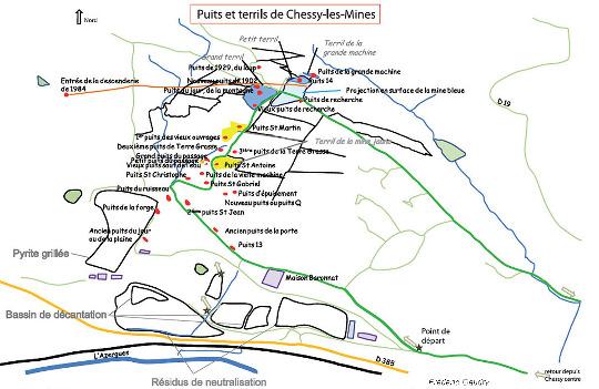 Inventaire des puits et déblais du secteur minier de Chessy-les-Mines