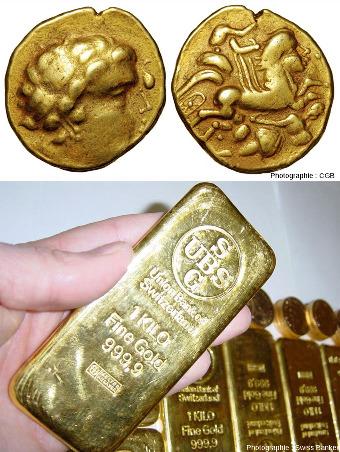 Pièce d'or gauloise et lingot moderne
