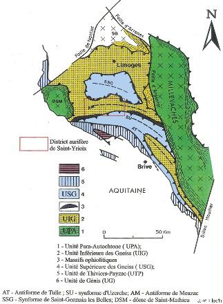 Principales formations géologiques du Limousin avec la localisation du district aurifère de Saint-Yrieix-la-Perche