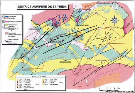Carte géologique du district de Saint-Yrieix-la-Perche