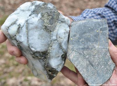 Comparaison de la couleur des paillettes d'or (à droite) et de la pyrite (à gauche) de deux échantillons