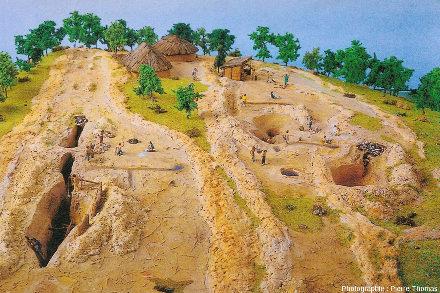 Maquette exposée à la Maison de l'or et représentant un chantier gaulois