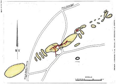 Travaux de Lécuras avec aurières gauloises alignées le long de la structure aurifère, puits et travaux miniers de la Société des Mines de Lécuras (1908-1912)
