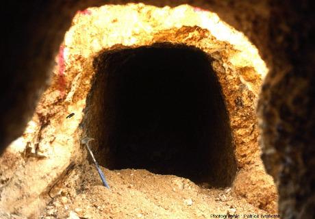 Ancienne galerie d'exploration des années 1900-1910 recoupée par la mine à ciel ouvert de Cros Gallet