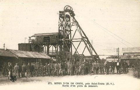Carte postale ancienne, la mine de Cheni