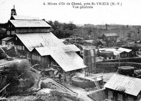 Carte postale ancienne, l'usine des Farges qui traitait le minerai de la mine de Cheni
