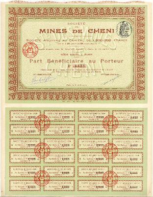 Action de la Société des Mines de Cheni