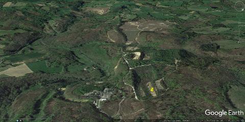 Vue aérienne des principaux sites de la Société des Mines du Bourneix en 2017, soit 15 ans après la fermeture de 2002