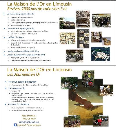 Activités proposées par la Maison de l'Or en Limousin