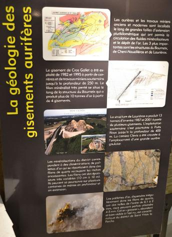 Exemple de panneau expliquant la géologie des gisements du district de Saint-Yrieix-la-Perche