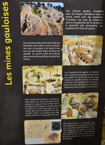 Exemple de panneau traitant de l'exploitation aurifère par les Gaulois